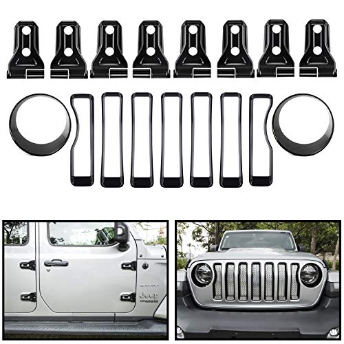 Sunluway Front Grille Trim Inserts Grill Cover, Headlight Turn Light Cover Trim & Door Hinge Cover 17 Pcs Black Protection Accessories for 2018 2019 Jeep Wrangler JL JLU Sport/Sports