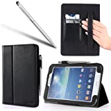 i-Blason Samsung Galaxy Tab 3 8.0 Auto Wake / Sleep Slim Book Stand Case Cover Wifi 4G LTE (Three Year Warranty) (Black)