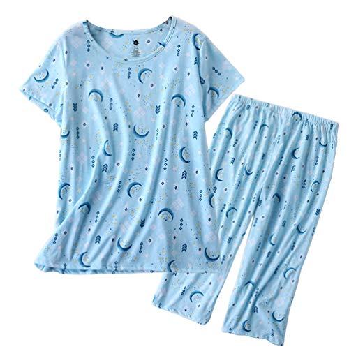 ENJOYNIGHT Women's Sleepwear Tops with Capri Pants Pajama Sets (Moon, Medium) ()