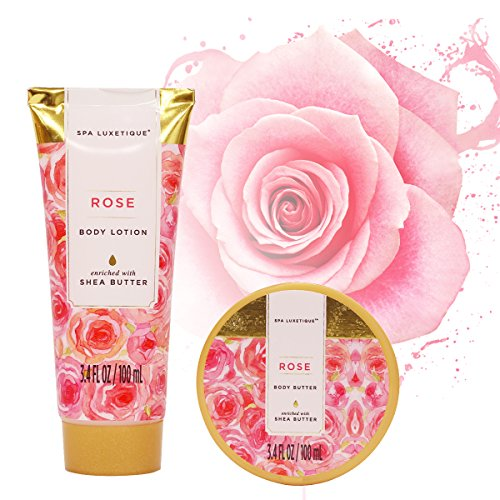 Spa-Luxetique-Spa-Gift-Basket-Rose-Fragrance-Premium-8pc-Gift-Baskets-for-Women-Cute-Bath-Tub-Holder-Spa-Gift-Set-Includes-Bath-Bombs-Shower-Gel-Body-Lotion-More-Best-Holiday-Gift-Set