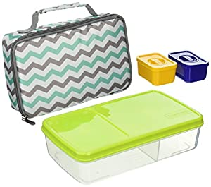 fit fresh kids 39 bento box lunch kit with reusable bpa free removable plastic. Black Bedroom Furniture Sets. Home Design Ideas