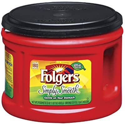 Folgers Simply Smooth Ground Coffee, Medium Roast, 23 Ounce (Pack of 6)
