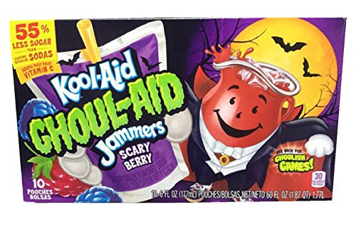New Kool-Aid Ghoul-Aid Jammers! Scary Berry Flavor! Ten Pouches Per Box! Kids Will Love This Delicious Juice!]()