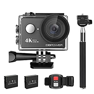 DBPOWER 4K Action Camera 12MP Ultra HD Waterproof Sports Cam with Built-in WiFi 170 Degree Wide Angle Lens 2 Inch LCD Screen Plus 1050mAh Rechargeable Battery (Camera+Accessories)