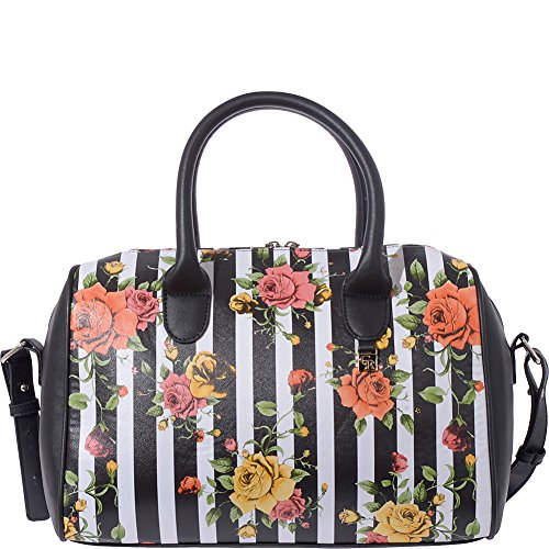 Club Rochelier Floral and Stripe Bowler Satchel (Black) (Handbag Leather Bowler)