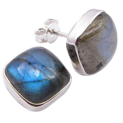 Labradorite earrings in sterling silver - Stone size 5x10mm TqOVg1