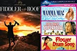 4 Musical Spotlight DVD Collection - Mamma Mia! Jesus Christ Superstar / Flower Drum Song Rodgers and Hammerstein + Fiddler On The Roof DVD Film Set