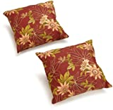 Blazing Needles Indoor/Outdoor Spun Poly 20-Inch by 20-Inch by 6-Inch Throw Pillow, Passion Ruby, Set of 2