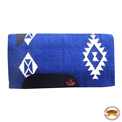 HILASON Western New Zealand Wool Horse Saddle Blanket Blue White