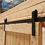 EDIORS 6FT Black Country Antique Steel Interior Sliding European Barn Wood Door Hardware Set