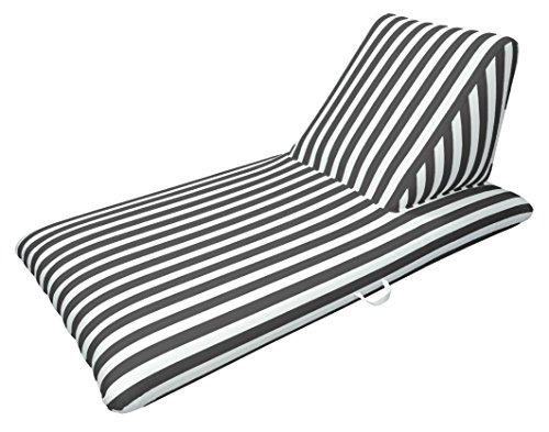Pool Fabric - Drift and Escape Luxury Fabric Swimming Pool Float Chaise Lounge, Black, 74