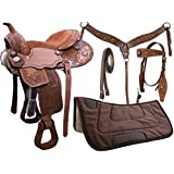 Tahoe Kids and Adults Sparkle Conchos Floral Tooled Western Saddle 5 Items Set