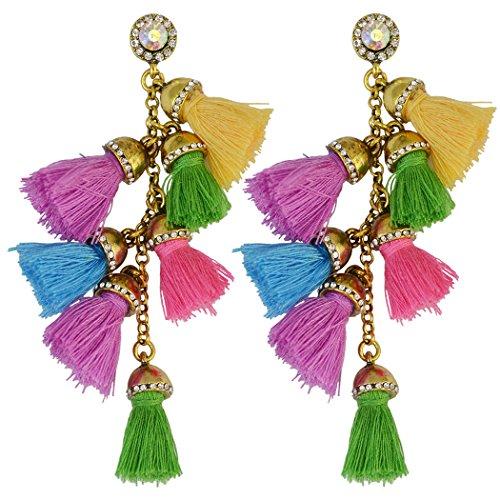 Idealway Handmade Exaggerated Gemstone Earrings