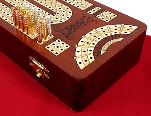 """13 1/2"""" 3 Track Continuous Cribbage Board W/ Card Storage Maple Tracks on Bloodwood - Corner, Skunk & Games Won"""