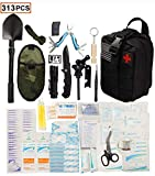 WildmanSurvival 313 pcs. Survival First Aid Kit IFAK Molle System Compatible Outdoor Gear Emergency Kits Trauma Bag for Camping Hunting Hiking Home Car Boat Earthquake and Adventures (BLACK)