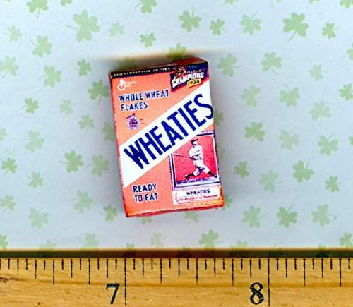 Dollhouse Miniatures Size Older Sports Cereal Box Baseball Player - My Mini Fairy Garden Dollhouse Accessories for Outdoor or House Decor