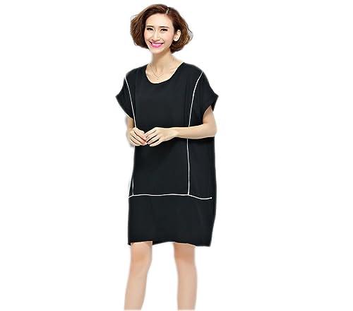 Vestido De La Manera De Gran Tamaño Sueltos HGDRSpring Y Verano De Las Mujeres,Black-OneSize