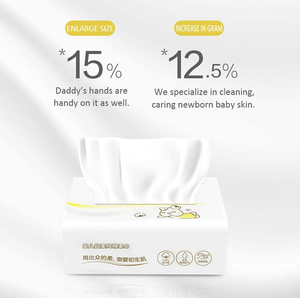 13x20cm 6-Pack PurCotton Baby Dry Wipes Ultra Soft Non-Woven Fabric 480-Count Unscented Cotton Tissues