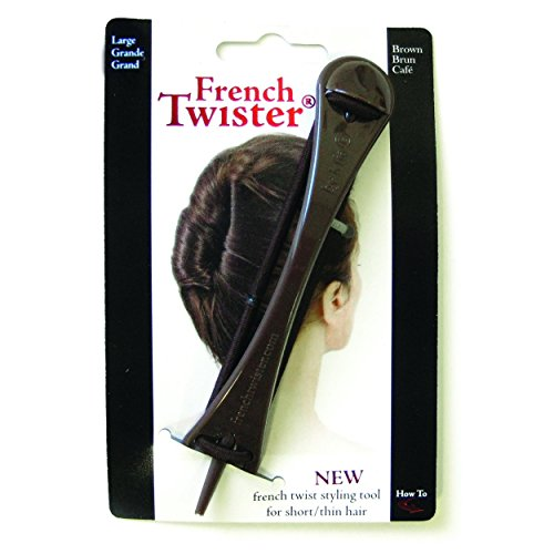 Mia French Twister-Up Do Styling Tool, Large Size Best For Long and/or Thick Hair, 5.25 Inches Long, Brown, PATENTED 1 pc