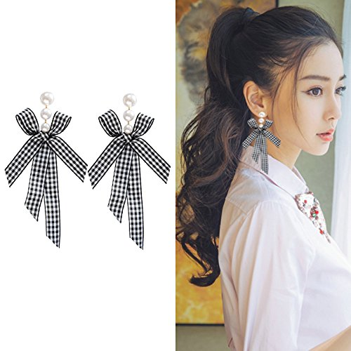 Ribbon Earrings - Super fairy long section of black and white plaid ribbon bow earrings Korean temperament pearl pendant earrings red earrings female