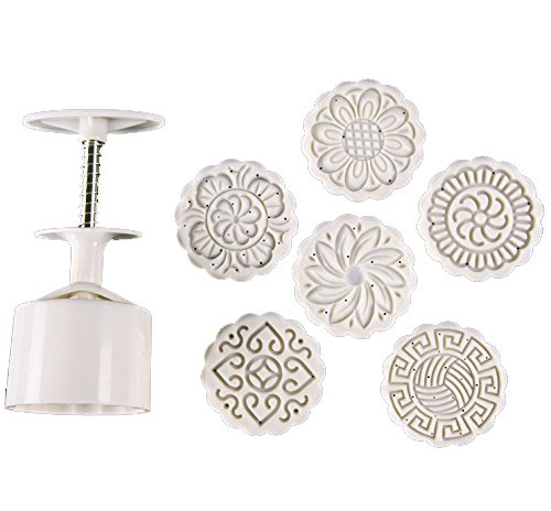 (Zicome Round Moon Cake Mold with 6 Stamps, Flowers Design, White)