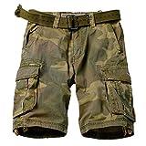 AKARMY Men's Multi Pocket Loose Fit Cotton Twill Cargo Shorts 8062 C34 Retro