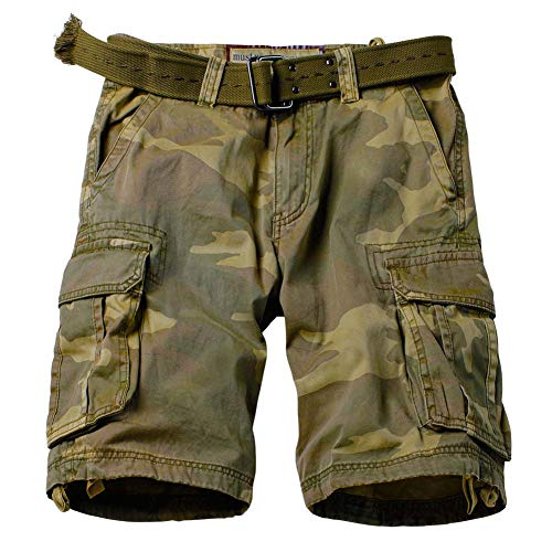 AKARMY Men's Multi Pocket Loose Fit Cotton Twill Cargo Shorts 8062 C34 Retro Camo Thin 38