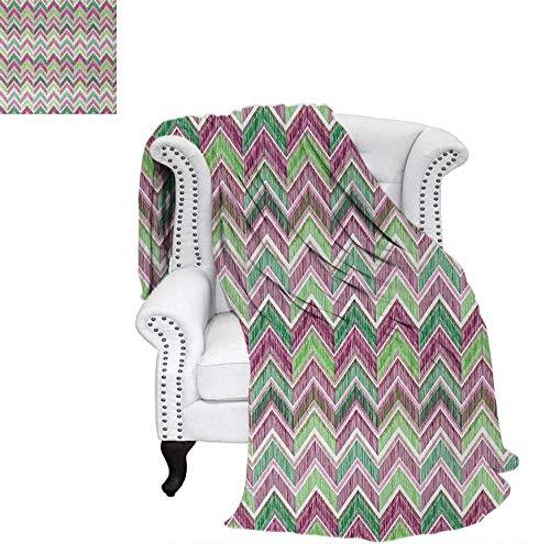Lightweight Blanket Doodle Style Chevron Line Tribal Pattern Ornamental Stripes Illustration Custom Design Cozy Flannel Blanket 60