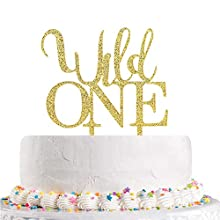 Gold Glitter Wild One Cake Topper Baby 1st Birthday,Baby Shower,Boy or Girl Birthday One Theme Party Decorations(Acrylic)