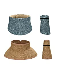 BMC 2pc Roll Up Collapsible Wide Brim and Visor Style Straw Hats