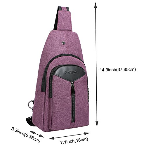 d645cc88fb1 MOSISO Sling Backpack with USB Charging Port, Polyester Travel Daypack  Durable Chest Shoulder Unbalance Gym