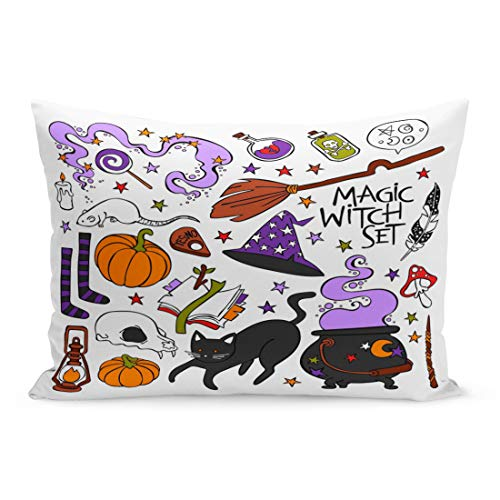 Emvency Throw Pillow Covers Candle Magic Witch Black Cat Hat Halloween Pumpkin Potion Pillow Case Cushion Cover Lumbar Pillowcase Decoration for Couch Sofa Bedding Car Home Decor 20 x 26 inchs]()