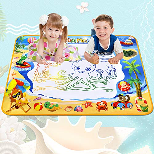 51O8jH SJ3L - Toyard Doodle Mat, Large Aqua Magic Water Drawing Mat Toy Gifts for Boys Girls Kids Painting Writing Pad Educational Learning Toys for Toddler