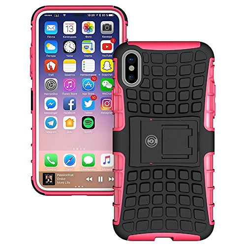 iPhone X Case, iPhone X Case by Cable and Case - [HEAVY DUTY] Tough Dual Layer 2 in 1 Rugged Rubber Hybrid Hard/Soft Impact Protective Cover [With Kickstand] Shipped from the U.S.A. - Pink
