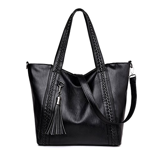 Mn&Sue Large Soft Washed Leather Women Handbag Braided Satchel Hobo Shoulder Tote Bag with Tassel (Black)