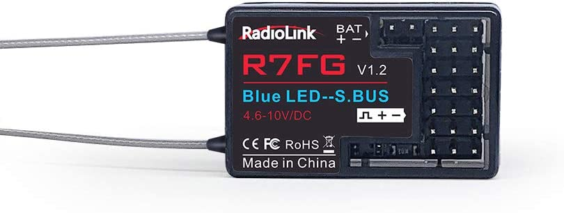 Radiolink R7FG 7CH 2.4G Receiver with Gyro Real-time Telemetry Long Range HV for RC Car and Boat Drifting Crawler Vehicles for RC4GS/RC6GS/T8FB/T8S