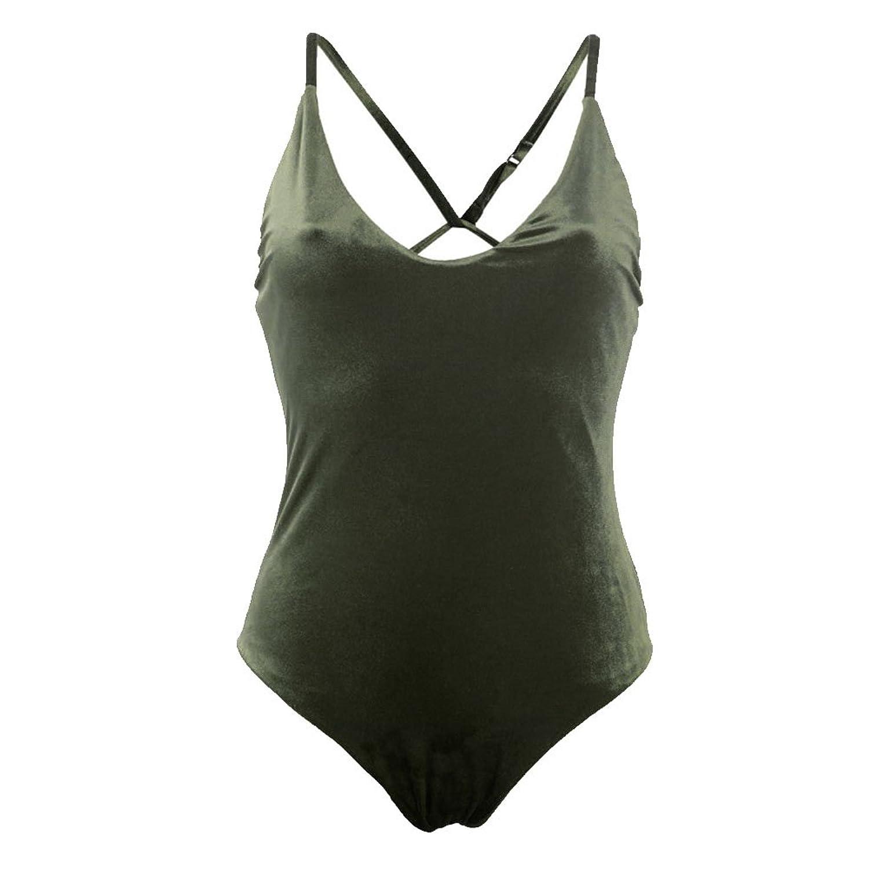 Womens Velvet Swimwear One Piece Swimsuit Monokini Push Up Bikini Beachwear