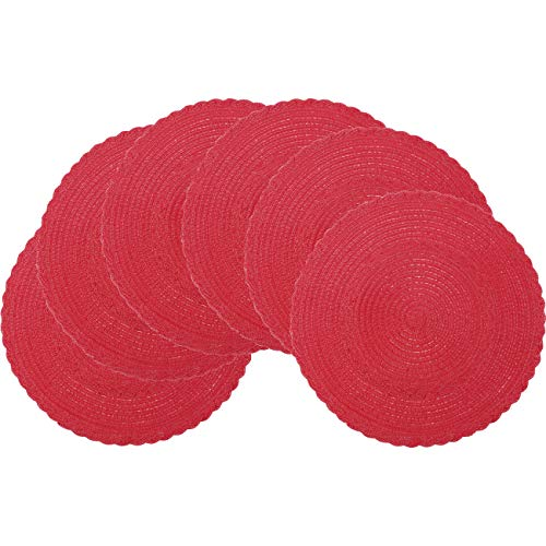 Pauwer Round Placemats Set of 4 for Dining Table Cotton Braided Placemats for Round Table Washable (Set of 4, Red) -
