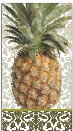 Ideal Home Range 16-Count 3-Ply Paper Guest Towel Napkins, Exotic Pineapple