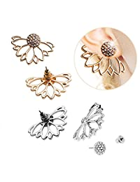 2 Pairs Lotus Flower Women Lovely Crystal Earrings Pearl Front and Back Ear Stud Jewelry