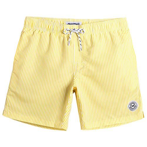 22ef2796721a9 MaaMgic Mens Stripe Swim Trunks Slim Fit Swimming Shorts Quick Dry Mid  Length Mesh Lining