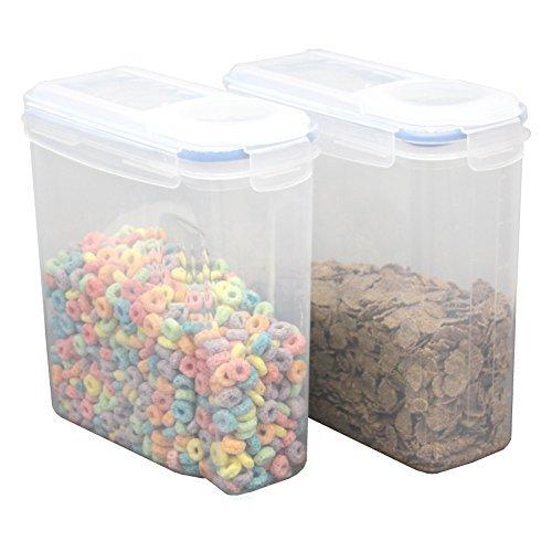 basicwise grande plástico sin BPA Contenedores de cereales de alimentos, hermético boquilla tapa, juego de 2