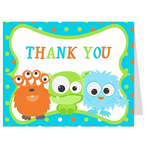 Little Monster Thank You Cards, Baby Shower, Blue, Turquoise, Green, Orange, Polka Dots, Monsters, Set of 50 Folding Notes with White Envelopes (Dot Green Cards)