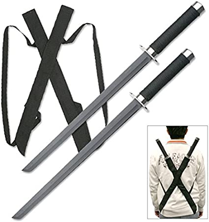 Snake Eye Tactical Dual Twin Ninja Sword with Dual Shoulder Sheath Each Blade (HK1456)