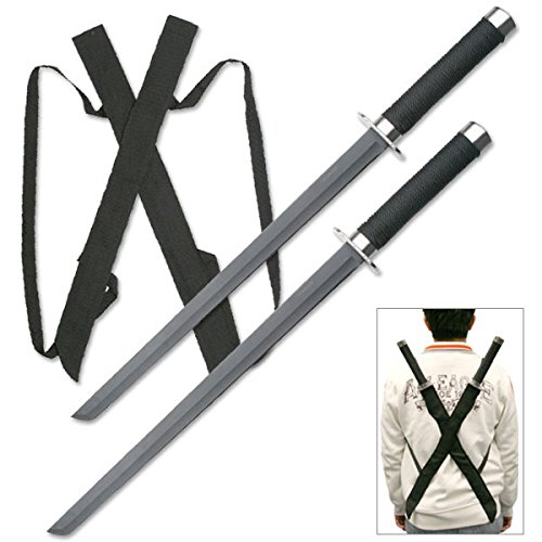 Snake Eye Tactical Dual Twin Ninja Sword with Dual Shoulder Sheath Each Blade (HK1456)]()