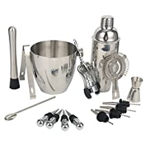 YaeBrew 16-Piece Stainless Steel Wine and Cocktail Bar Set - Bar Kit Includes Essential Barware Tools and Ice Bucket