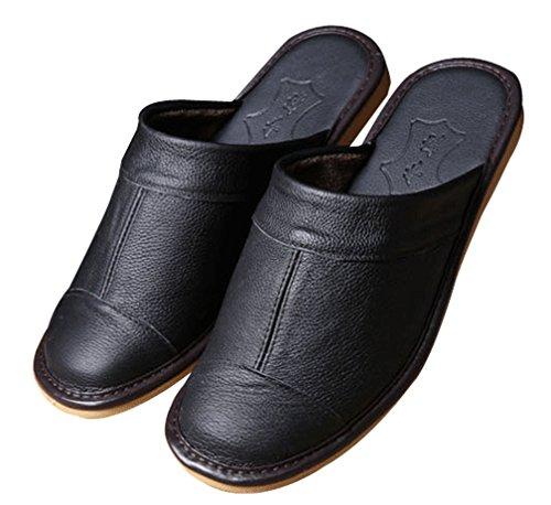 Cattior Mens Solide Pantofole In Pelle Comode Pantofole Nere