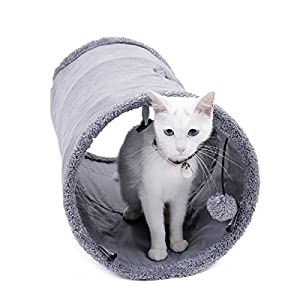 Speedy Pet Collapsible Cat Tunnel, Cat Toys Play Tunnel Durable Suede Hideaway Pet Crinkle Tunnel with Ball,12 inch Diameter 42