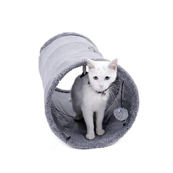 Speedy Pet Collapsible Cat Tunnel, Cat Toys Play Tunnel Durable Suede Hideaway Pet Crinkle Tunnel with Ball,12 inch Diameter 1