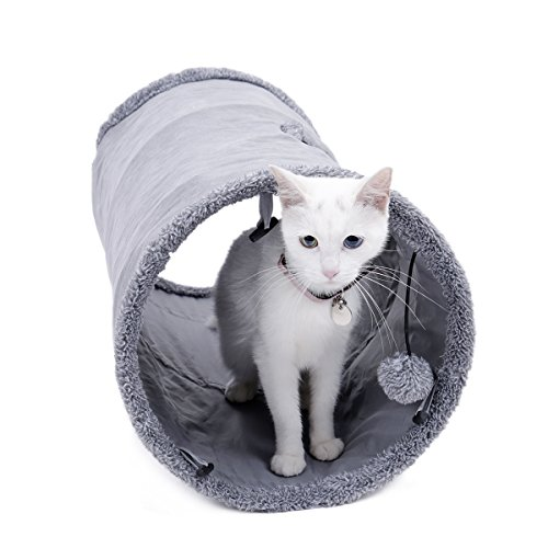 Speedy Pet Collapsible Cat Tunnel, Cat Toys Play Tunnel Durable Suede Hideaway Pet Crinkle Tunnel with Ball,12 inch Diameter S by Speedy Pet